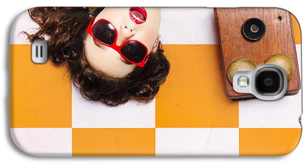 Pin-up Beauty Decision Making On Old Phone Galaxy S4 Case by Jorgo Photography - Wall Art Gallery