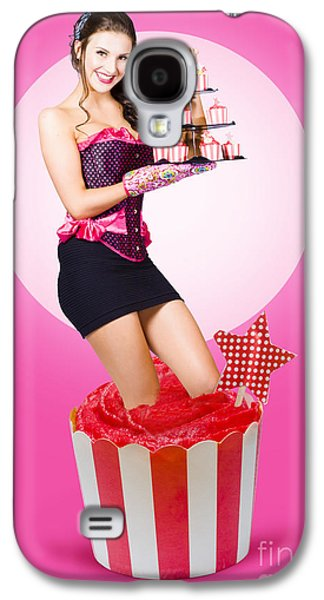 Pin-up Girl Popping Out Of Large Birthday Cake Galaxy S4 Case by Jorgo Photography - Wall Art Gallery