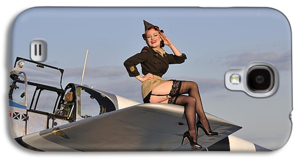 Full Skirt Galaxy S4 Cases - Pin-up Girl Sitting On The Wing Galaxy S4 Case by Christian Kieffer