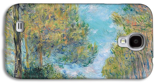 Blue And Green Galaxy S4 Cases - Pine Tree Path at Varengeville Galaxy S4 Case by Claude Monet