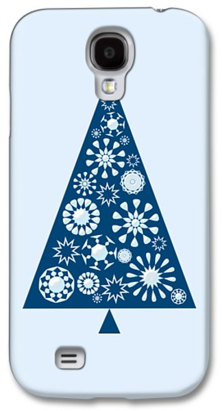 Celebration Galaxy S4 Cases - Pine Tree Snowflakes - Blue Galaxy S4 Case by Anastasiya Malakhova