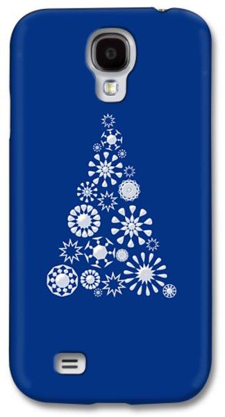 Toys Galaxy S4 Cases - Pine Tree Snowflakes - Dark Blue Galaxy S4 Case by Anastasiya Malakhova