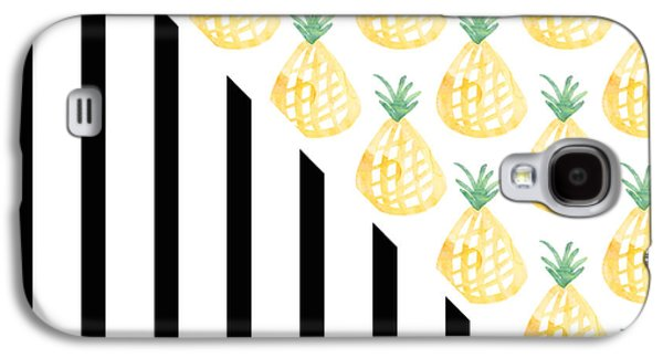 Stripes Mixed Media Galaxy S4 Cases - Pineapples and Stripes Galaxy S4 Case by Linda Woods