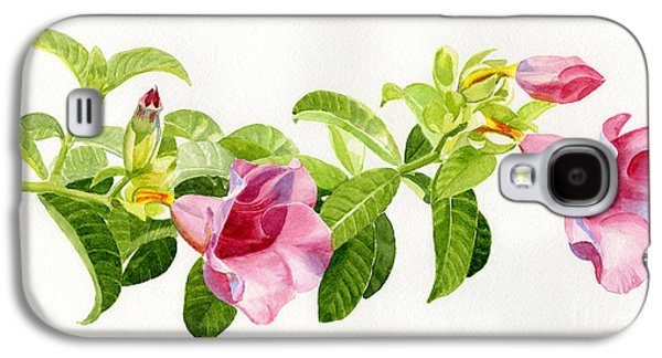 Pink Blossoms Galaxy S4 Cases - Pink Allamanda Blossoms on a Branch Galaxy S4 Case by Sharon Freeman