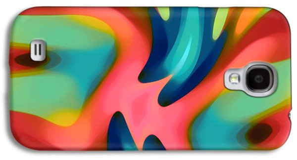 Nature Abstracts Galaxy S4 Cases - Pink and Blue Owl Horizontal Galaxy S4 Case by Amy Vangsgard