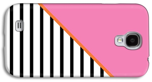 Pink Digital Art Galaxy S4 Cases - Pink and Orange and Black Geometric Galaxy S4 Case by Linda Woods