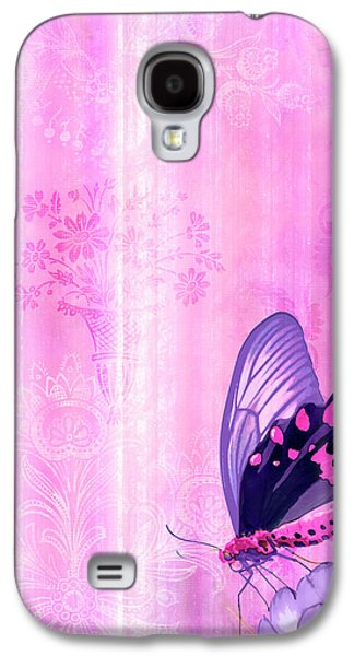 Quilt Galaxy S4 Cases - Pink and Purple Butterfly Companions 2 Galaxy S4 Case by JQ Licensing
