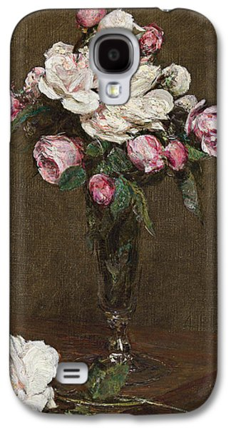 Champagne Paintings Galaxy S4 Cases - Pink and White Roses in a Champagne Flute Galaxy S4 Case by Ignace Henri Jean Fantin-Latour