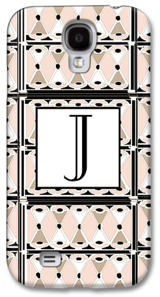 Shower Digital Galaxy S4 Cases - Pink Champagne Gatsby Monogram  J Galaxy S4 Case by Cecely Bloom