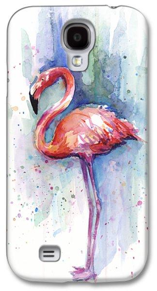 Pink Flamingo Watercolor Galaxy S4 Case by Olga Shvartsur