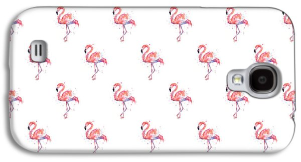 Pink Flamingo Watercolor Pattern Galaxy S4 Case by Olga Shvartsur