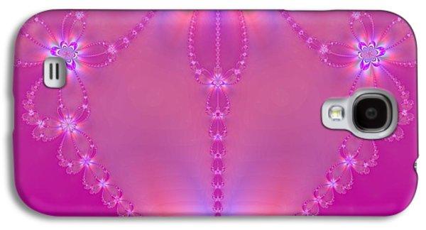 Abstract Digital Mixed Media Galaxy S4 Cases - Pink Heart Galaxy S4 Case by Regina Rodella