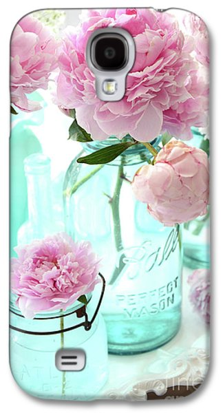 Pink Peonies In Blue Aqua Mason Ball Jars - Romantic Shabby Chic Cottage Peonies Flower Nature Decor Galaxy S4 Case by Kathy Fornal