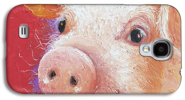 Piglets Paintings Galaxy S4 Cases - Pink Pig painting Galaxy S4 Case by Jan Matson