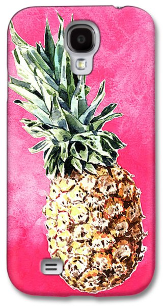 Pink Pineapple Bright Fruit Still Life Healthy Living Yoga Inspiration Tropical Island Kawaii Cute Galaxy S4 Case by Laura Row