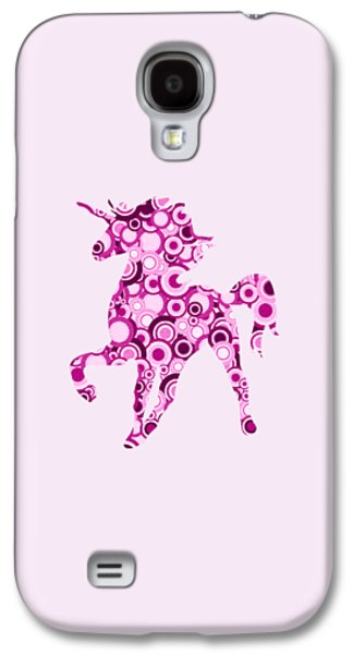 Little Girls Mixed Media Galaxy S4 Cases - Pink Unicorn - Animal Art Galaxy S4 Case by Anastasiya Malakhova