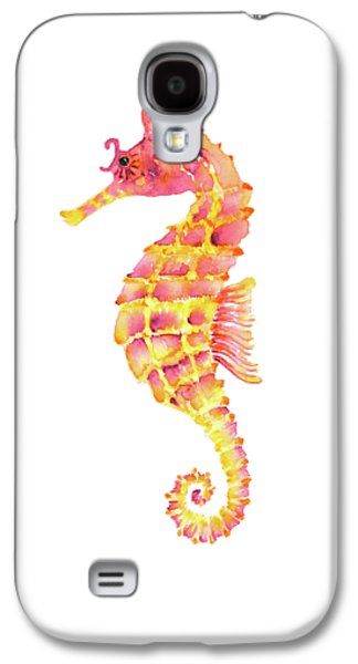 Pink Yellow Seahorse Galaxy S4 Case by Amy Kirkpatrick