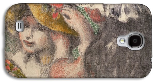 Girl Pastels Galaxy S4 Cases - Pinning The Hat Galaxy S4 Case by Pierre Auguste Renoir