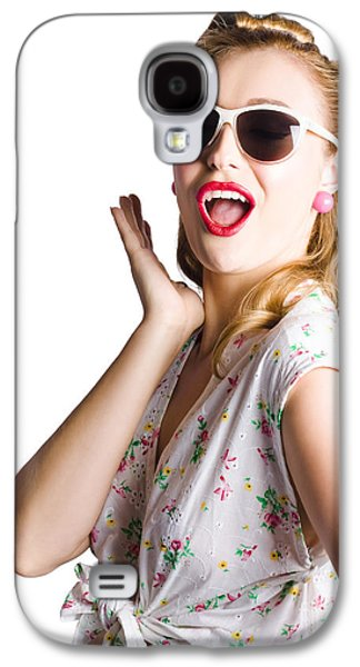 Dismay Galaxy S4 Cases - Pinup shouting out loud Galaxy S4 Case by Ryan Jorgensen