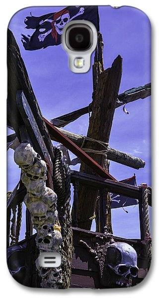 Pirate Ships Galaxy S4 Cases - Pirate Ship With Black Flag Galaxy S4 Case by Garry Gay