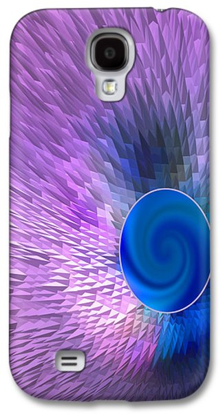 Abstract Digital Digital Galaxy S4 Cases - Pirple Abstract with Blue Galaxy S4 Case by Linda Phelps