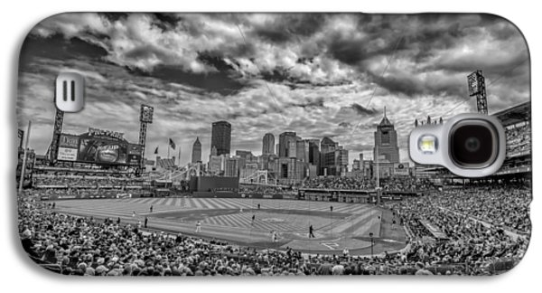 Pittsburgh Pirates Pnc Park Black And White Galaxy S4 Case by David Haskett