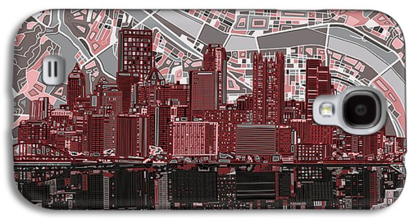 Abstract Digital Galaxy S4 Cases - Pittsburgh skyline abstract 5 Galaxy S4 Case by MB Art factory