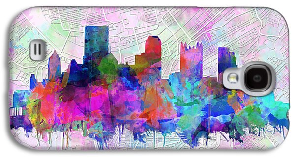 Abstract Digital Digital Galaxy S4 Cases - Pittsburgh skyline watercolor Galaxy S4 Case by MB Art factory