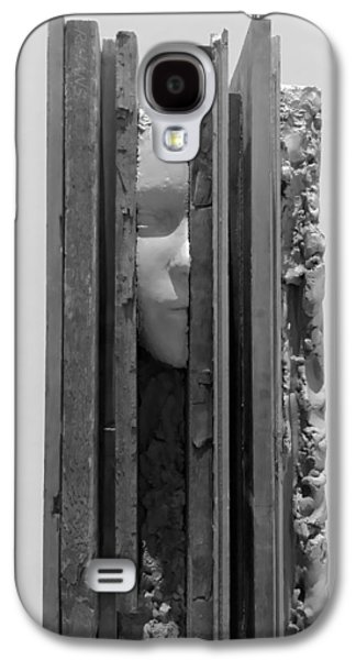 Modern Abstract Sculptures Galaxy S4 Cases - PLANK FACE VERTICAL B W  a k a HERES JOHNNY Galaxy S4 Case by Rob Hans