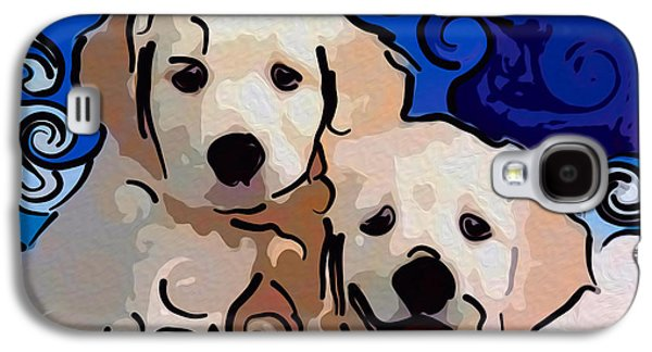 Puppy Digital Art Galaxy S4 Cases - Playful Puppies Abstract Dog Art by Omaste Witkowski Galaxy S4 Case by Omaste Witkowski