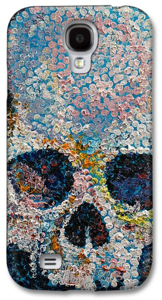 Trippy Paintings Galaxy S4 Cases - Pointillism Skull Galaxy S4 Case by Michael Creese