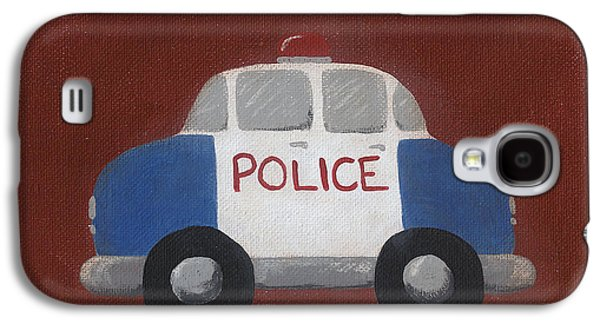 Police Paintings Galaxy S4 Cases - Police Car Nursery Art Galaxy S4 Case by Katie Carlsruh
