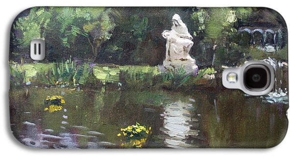 Waterfalls Paintings Galaxy S4 Cases - Pond at Our Lady of Fatima Lewiston Galaxy S4 Case by Ylli Haruni