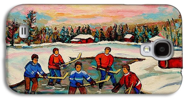 Hockey Sweaters Paintings Galaxy S4 Cases - Pond Hockey Countryscene Galaxy S4 Case by Carole Spandau