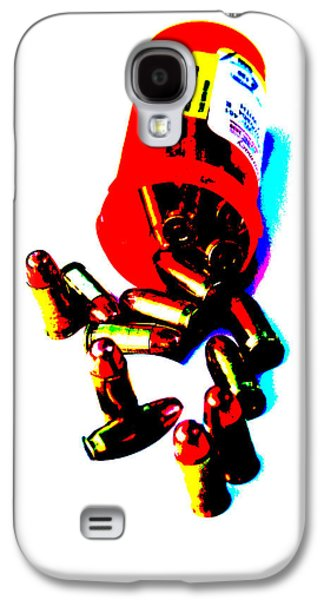 Self Shot Photographs Galaxy S4 Cases - Pop Art of .45 cal bullets comming out of pill bottle Galaxy S4 Case by Michael Ledray