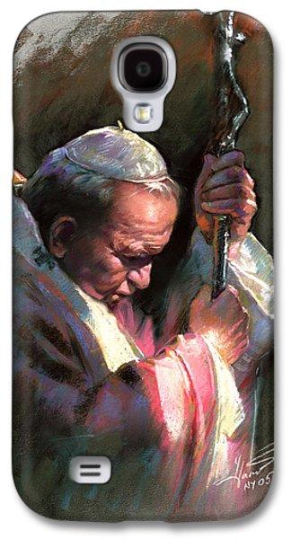Portrait Pastels Galaxy S4 Cases - Pope John Paul II Galaxy S4 Case by Ylli Haruni