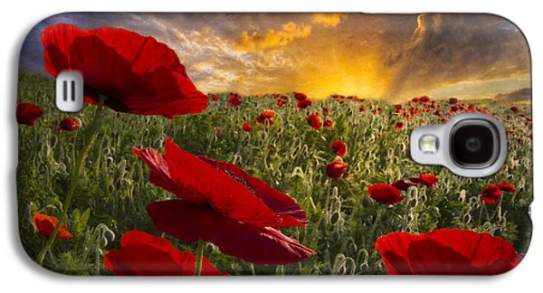 Light Galaxy S4 Cases - Poppy Field Galaxy S4 Case by Debra and Dave Vanderlaan