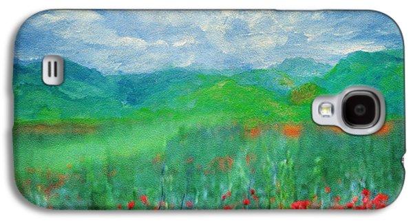 Impressionism Mixed Media Galaxy S4 Cases - Poppy Meadows Galaxy S4 Case by Georgiana Romanovna