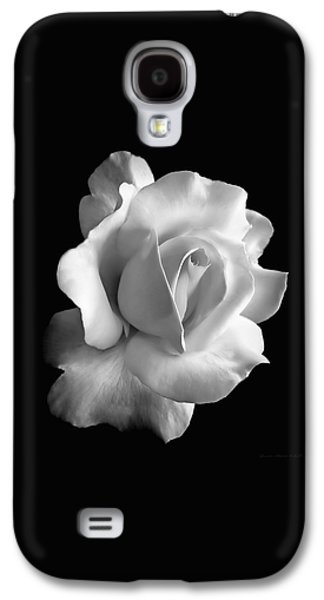 Porcelain Rose Flower Black And White Galaxy S4 Case by Jennie Marie Schell