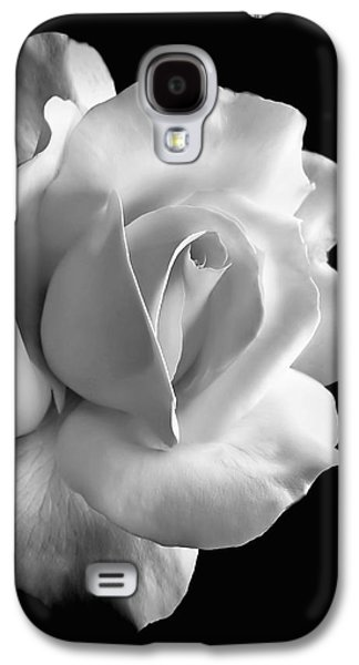 Blooms Galaxy S4 Cases - Porcelain Rose Flower Black and White Galaxy S4 Case by Jennie Marie Schell