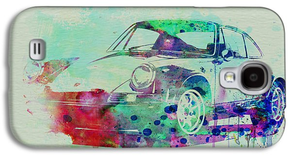 Concept Drawings Galaxy S4 Cases - Porsche 911 Watercolor 2 Galaxy S4 Case by Naxart Studio