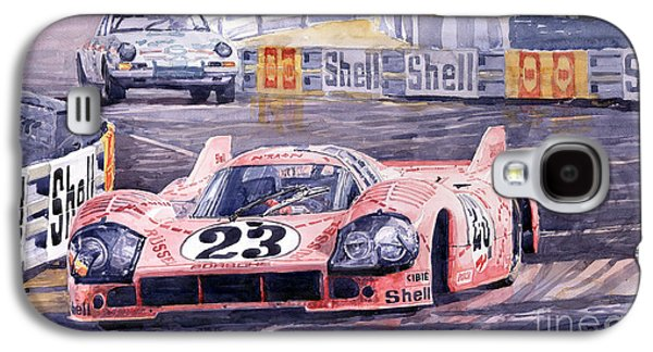 Watercolor Paintings Galaxy S4 Cases - Porsche 917-20 Pink Pig Le Mans 1971 Joest Reinhold Galaxy S4 Case by Yuriy  Shevchuk