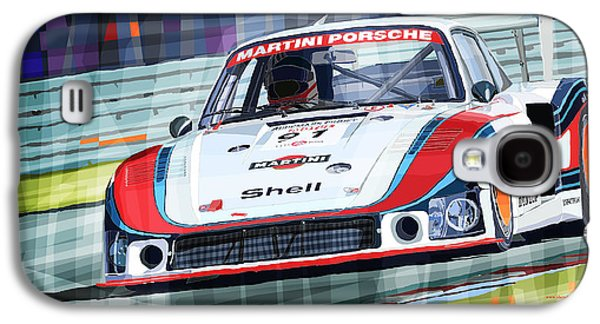 Sport Digital Galaxy S4 Cases - Porsche 935 Coupe Moby Dick Martini Racing Team Galaxy S4 Case by Yuriy  Shevchuk