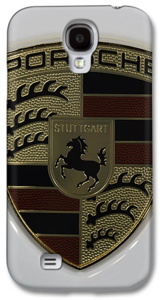 Sport Photographs Galaxy S4 Cases - Porsche Emblem on White Galaxy S4 Case by Sebastian Musial