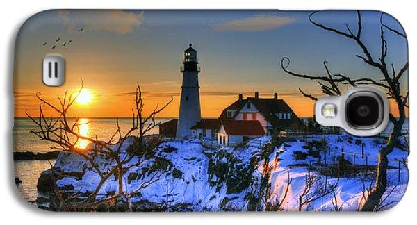 Maine Lighthouses Galaxy S4 Cases - Portland Head Light Sunrise - Maine Galaxy S4 Case by Joann Vitali