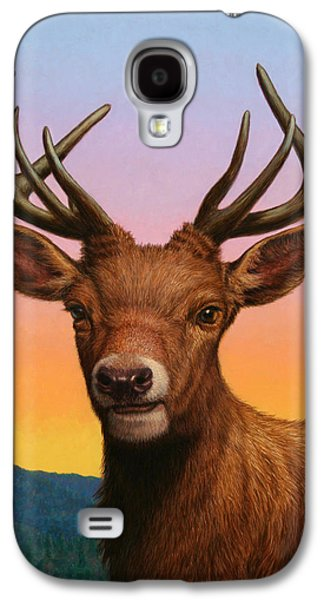 Deer Galaxy S4 Cases - Portrait of a Red Deer Galaxy S4 Case by James W Johnson