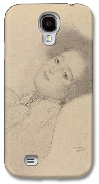 Portrait Of A Young Woman Reclining Galaxy S4 Case by Gustav Klimt
