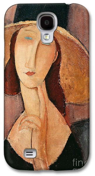 Faces Paintings Galaxy S4 Cases - Portrait of Jeanne Hebuterne in a large hat Galaxy S4 Case by Amedeo Modigliani