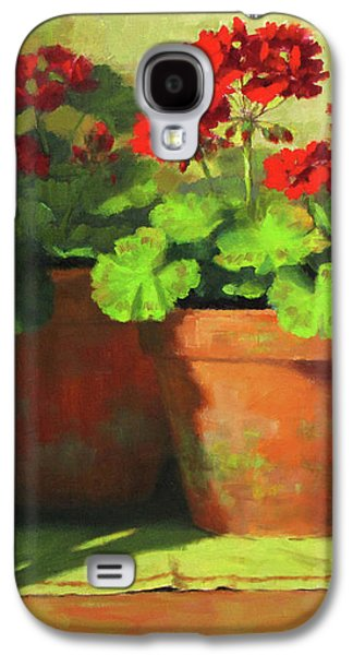 Red Geraniums Galaxy S4 Cases - Potted Geraniums Galaxy S4 Case by Linda Jacobus