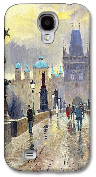 City Scenes Paintings Galaxy S4 Cases - Prague Charles Bridge 02 Galaxy S4 Case by Yuriy  Shevchuk
